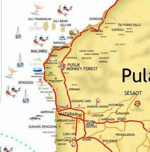 Peta menuju pelabuhan Bangsal